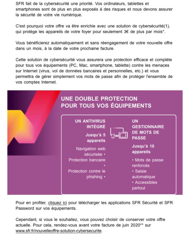 Mail SFR Sécurité