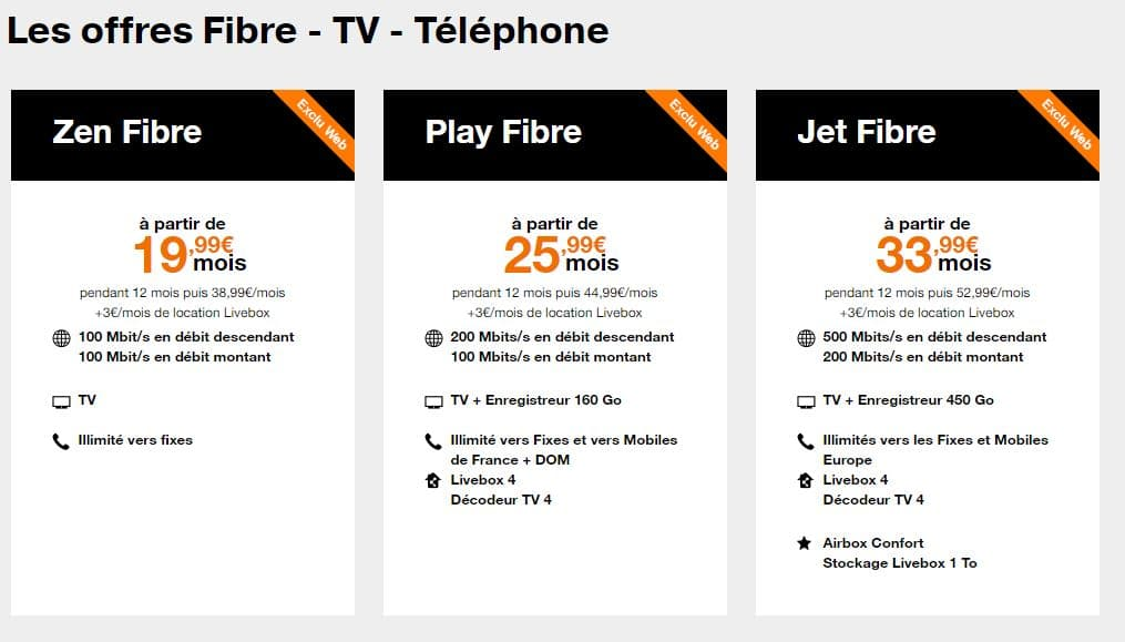 Les offres box internet sans engagement d'Orange (ADSL et Fibre)