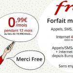 Vente Privée Free Mobile : 100Go pour 0.99€/mois sans engagement
