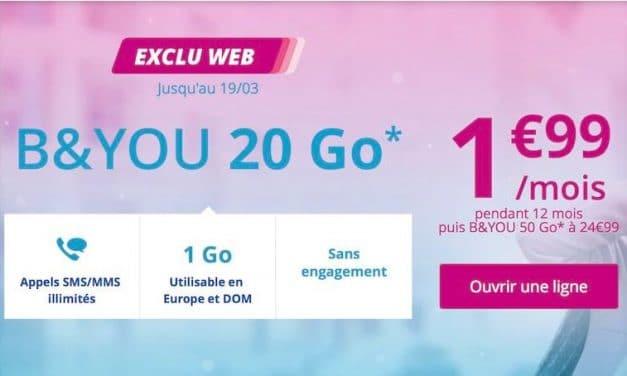 Bouygues Télécom lance un forfait 20Go à 1.99€/mois