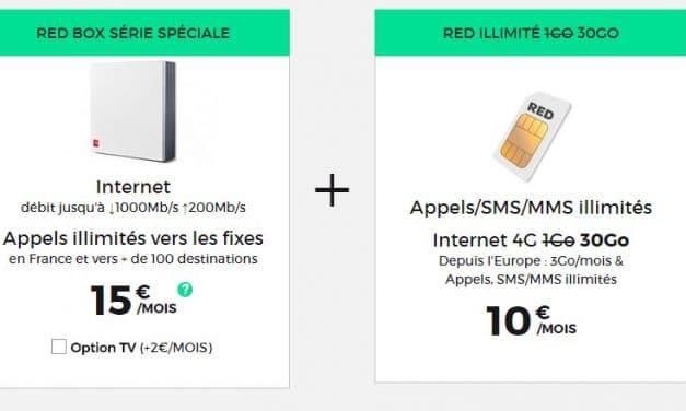 Forfait 30Go et la Fibre jusqu'à 1 Gbps pour 25€/mois chez Red by SFR