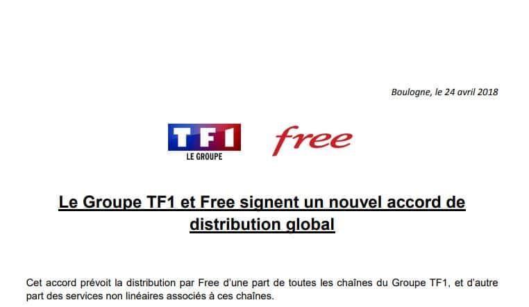 TF1 et Free font la paix et signe un accord