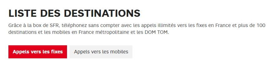 promo box : destinations appels SFR