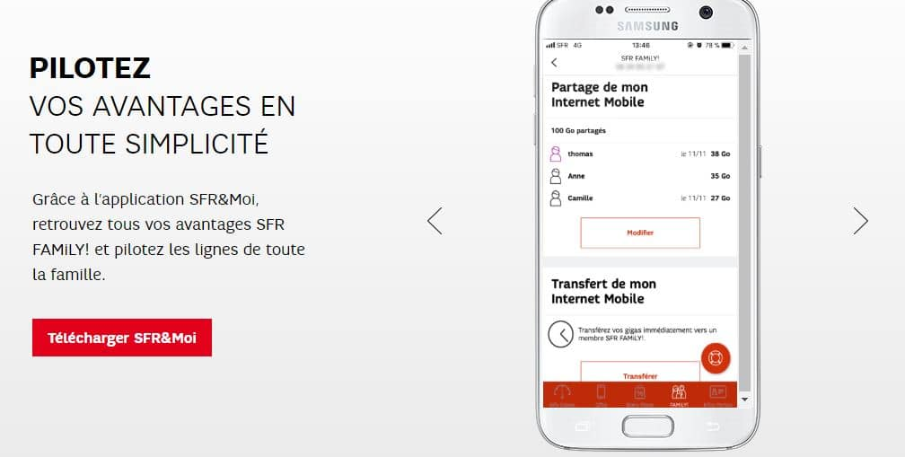 ventes privées SFR : avantages SFR Family