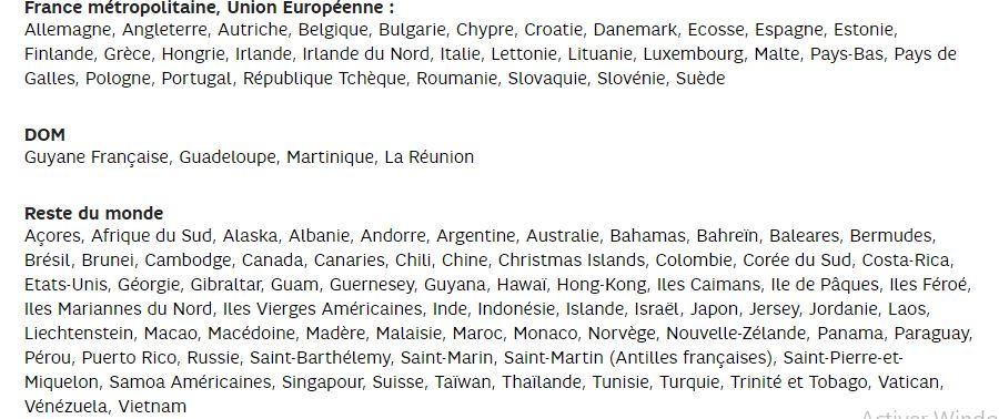 Ventes Privées SFR : liste des destinations