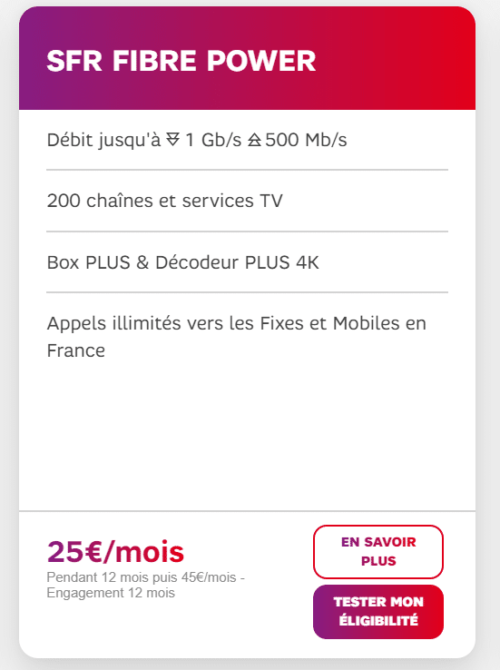 meilleure box internet : SFR Fibre power